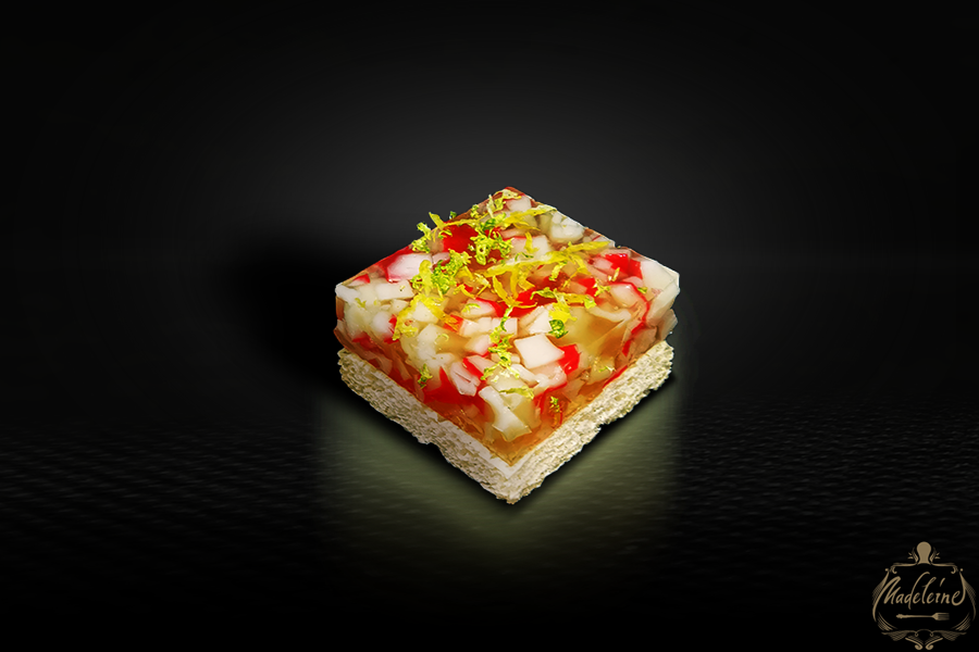 Canapes with Crab in Ginger Jelly